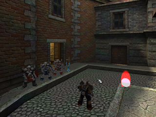 Screenshot of a First Person Shooter 3D game called Kombat 3D being developed with the 3D extension library for Bennu